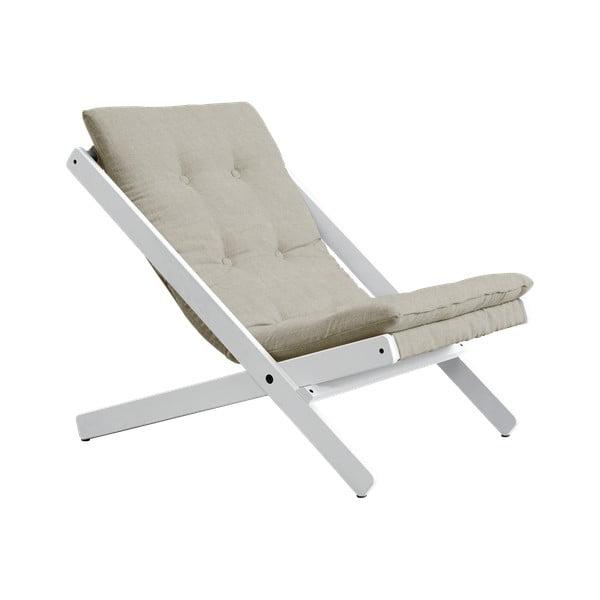 Fotel rozkładany z drewna bukowego Karup Design Vigilius Petrol Linen, 60x115 cm