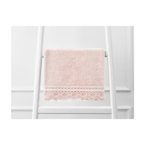 Pudrově růžový ručník z čisté bavlny, 30 x 46 cm
