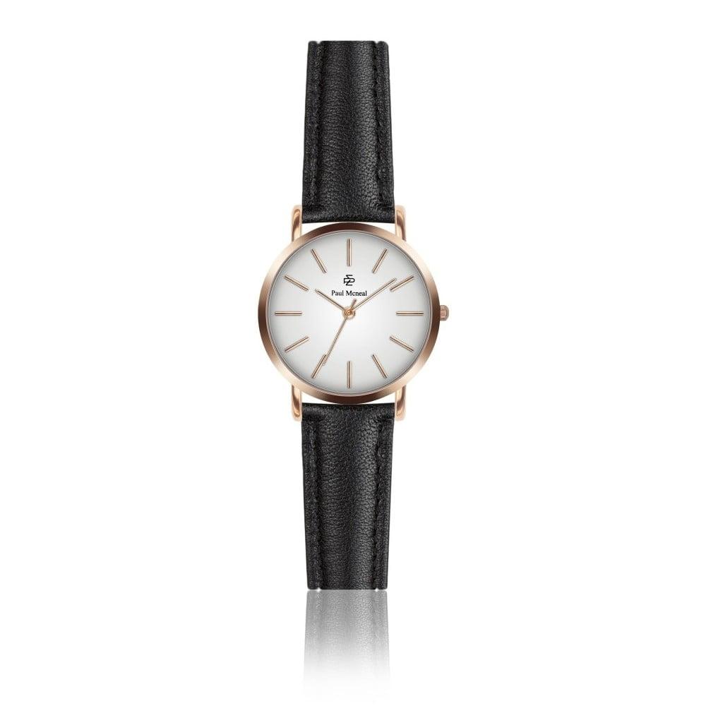 Dámské hodinky s černým koženým řemínkem Paul McNeal Vera, ⌀ 2,8 cm