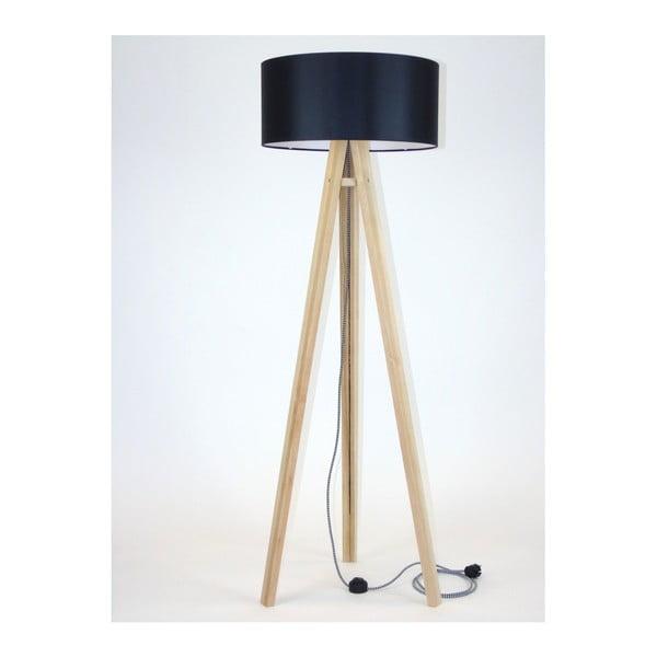 Wanda állólámpa fekete lámpabúrával és fekete-fehér kábellel - Ragaba