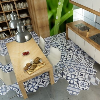 Set 10 autocolante impermeabile pentru podea Ambiance Folio, 20 x 18 cm de la Ambiance