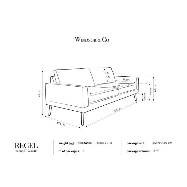 Trojmístná pohovka v přírodní barvě Windsor & Co Sofas Rigel