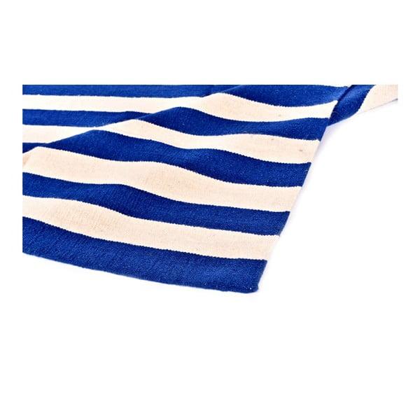 Vlněný koberec Geometry Stripes Dark Blue, 160x230 cm