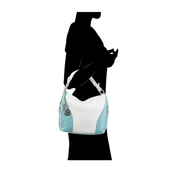 Kožená kabelka Chorche, bílá/sv.modrá