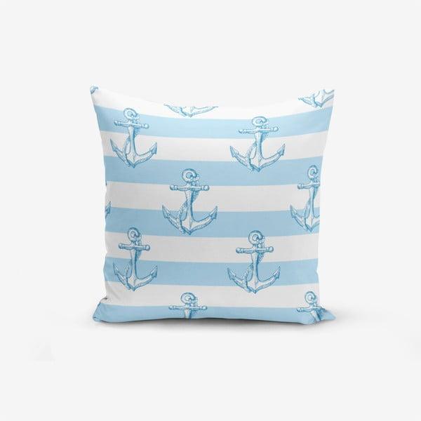 Față de pernă cu amestec din bumbac Minimalist Cushion Covers Blue White See Concept, 45 x 45 cm