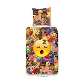 Lenjerie de pat pentru copii din bumbac pur Good Morning Laugh 140x200cm