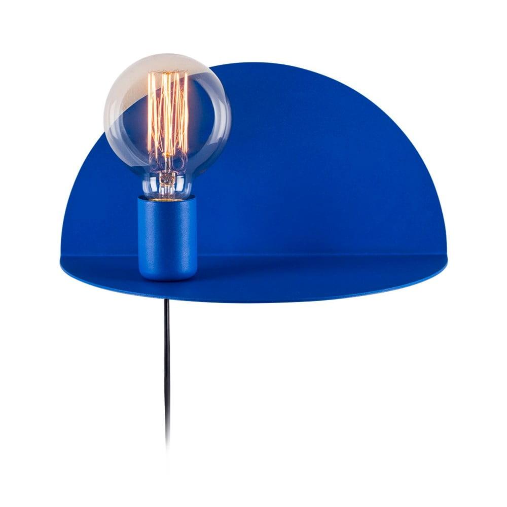 Modrá nástěnná lampa s poličkou Shelfie Anna