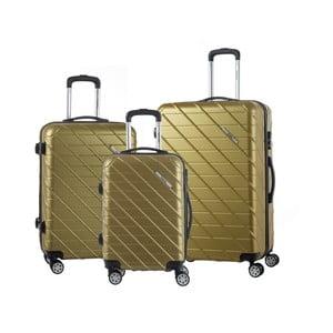 Sada 3 cestovních kufrů zlaté barvy na kolečkách Murano Americano