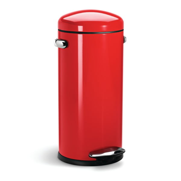 Červený pedálový koš simplehuman Retro, 30 l