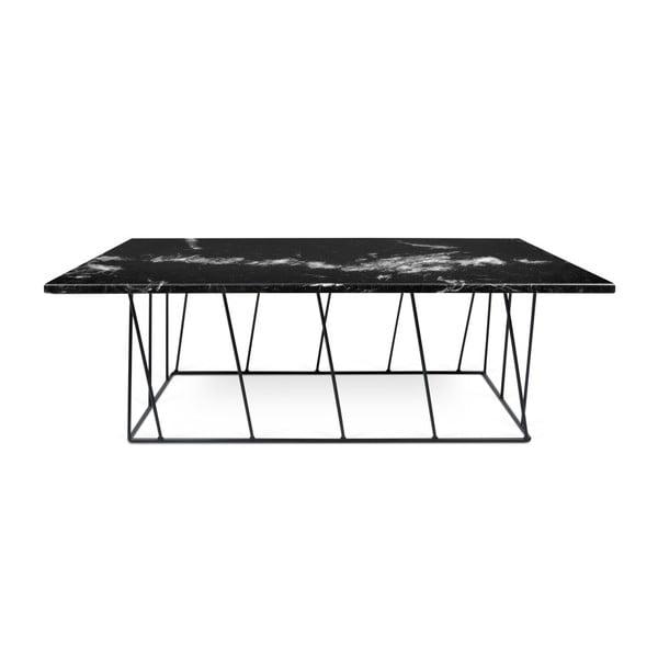 Černý mramorový konferenční stolek s černými nohami TemaHome Helix, 75 x 120 cm