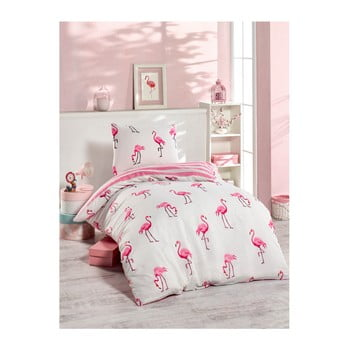 Lenjerie de pat Jussno Flamingos, 140 x 220 cm, roz
