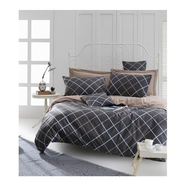 Lenjerie de pat cu cearșaf din bumbac ranforce, pentru pat dublu Mijolnir Ride Brown, 200 x 220 cm