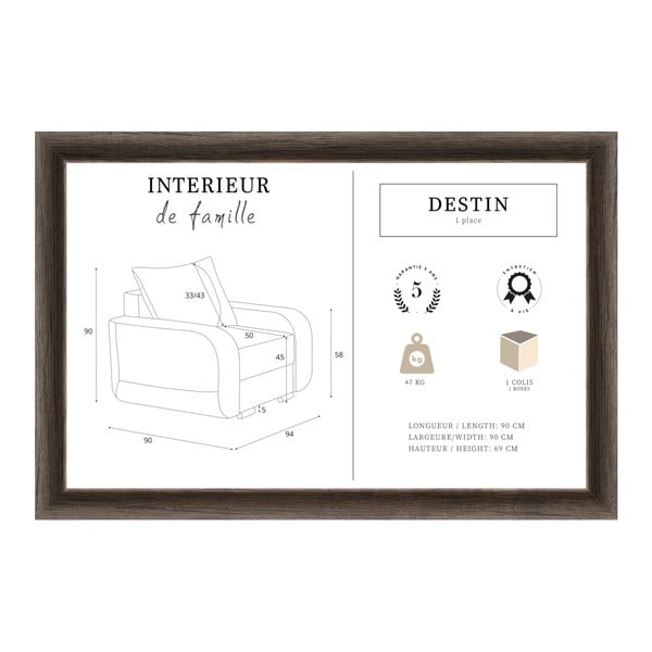 Fotoliu INTERIEUR DE FAMILLE PARIS Destin, gri antracit