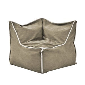 Pískový rohový modulový sedací vak s krémovým lemem Poufomania Funky