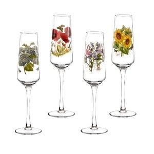 Sada 4 ks skleniček na šampaňské s motivem květin Portmeirion, 230 ml