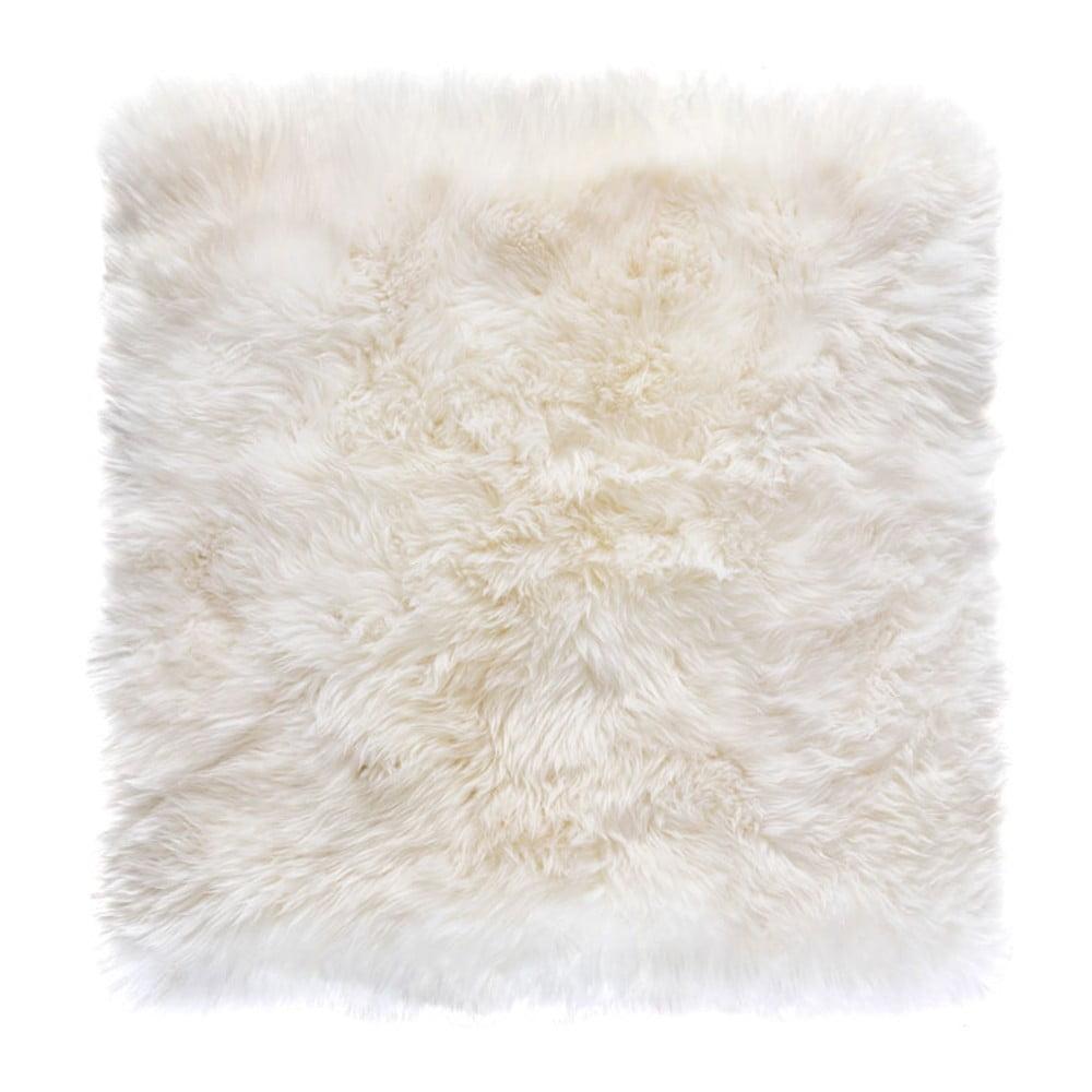 Bílý čtvercový koberec z ovčí vlny Royal Dream Zealand, 70 x 70 cm