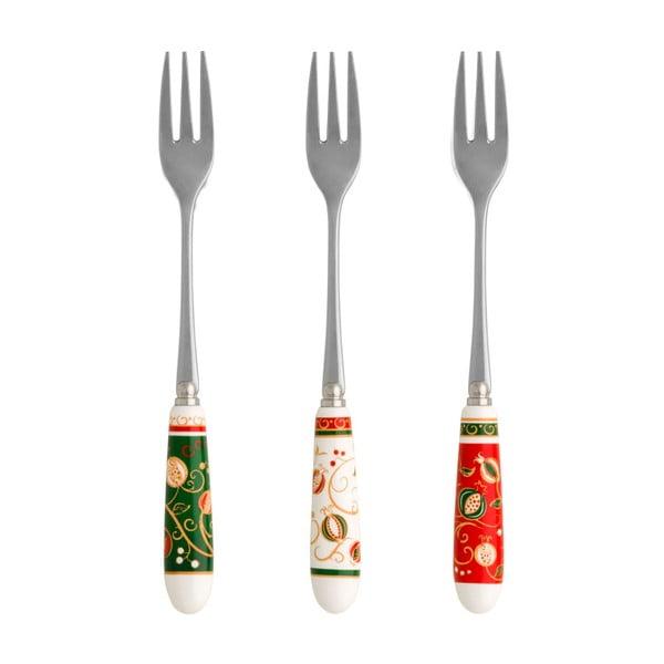Sada 6 dezertných vidličiek s vianočným motívom Brandani Tempo di Festa