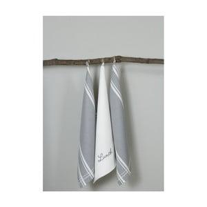 Sada 3 šedo-bílých kuchyňských utěrek My Home Plus Lunch, 50 x 70 cm