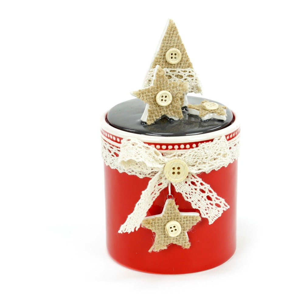 Keramický box s vánočním motivem Unimasa Tree, výška16cm