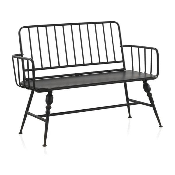 Černá kovová lavice Geese