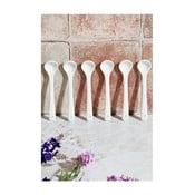 Sada 6 bílých lžiček z porcelánu Kutahya, délka 13 cm
