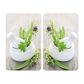 Set 2 protecții din sticlă pentru aragaz Wenko Herbal,52x30cm imagine