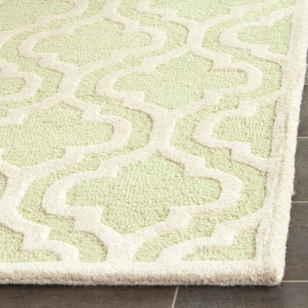 Vlněný koberec Lola 152x243 cm, zeleno-bílý