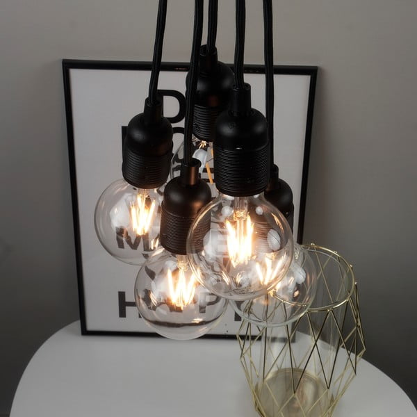 Černé závěsné svítidlo s 5 kabely Bulb Attack Uno Basic Unit