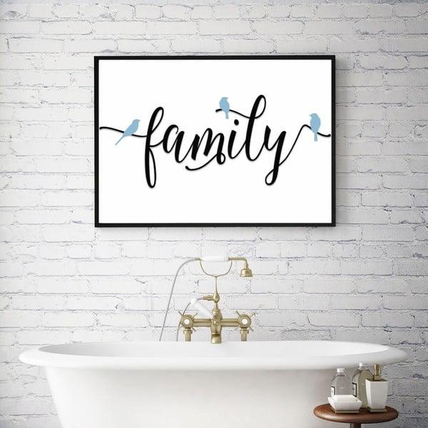 Plakát v dřevěném rámu Family, 38x28 cm