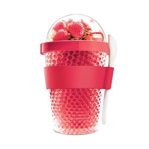Červený termokelímek na jogurt Asobu Chill Yo 2 Go, 380 ml