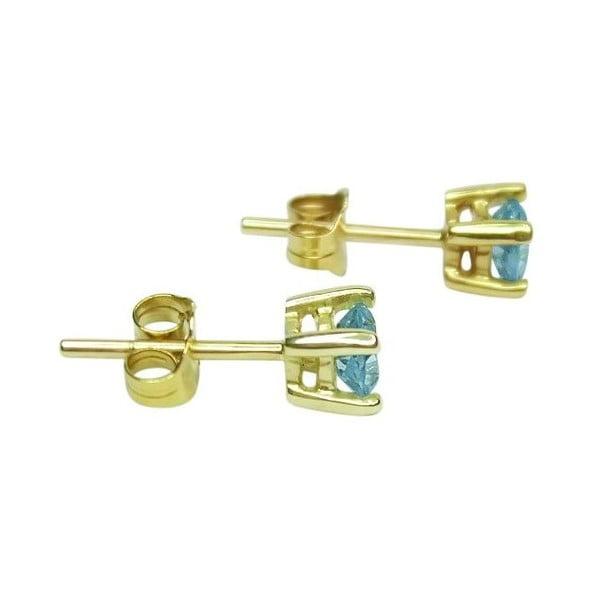 Náušnice Four Prong s akvamarínem, zlaté