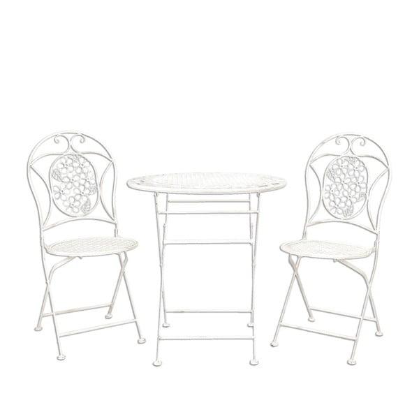 Sada kovového stolku a 2 židlí Provence, bílá