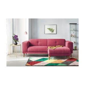 Canapea cu 3 locuri și suport pentru picioare Bobochic Paris Luna, roșu