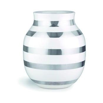 Vază din gresie ceramică cu detalii argintii Kähler Design Omaggio, înălțime 20 cm, alb