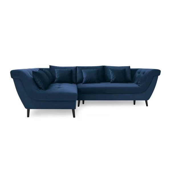 Canapea extensibilă Bobochic Paris Real, pe partea stângă, albastru marin