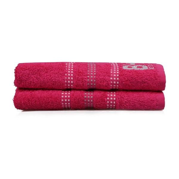 Sada dvou ručníků v barvě fuchsia Beverly Hills Polo Club Stripes, 90x50 cm