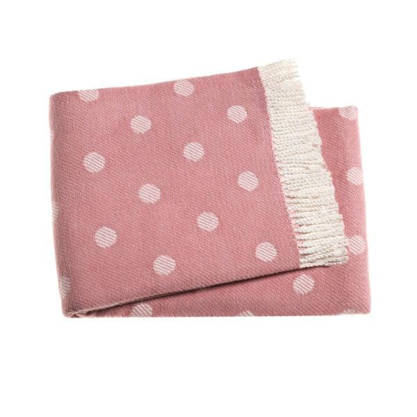 Růžový puntíkovaný pléd s podílem bavlny Euromant Sevilla, 140x180cm