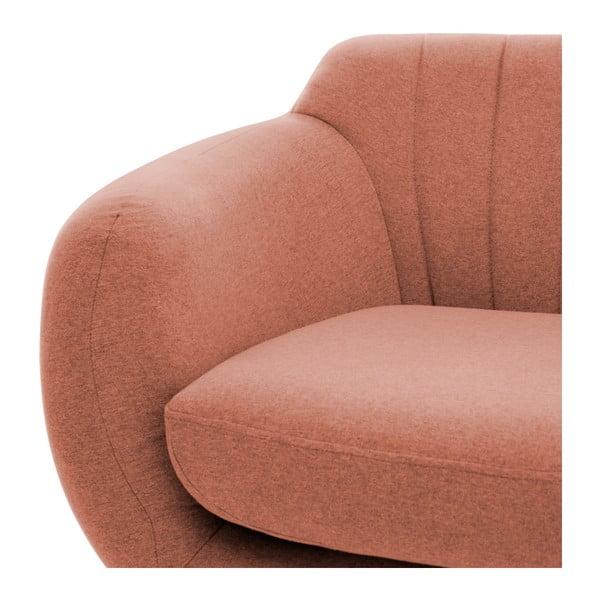 Canapea 3 locuri cu picioare negre Vivonia Kennet, piersică