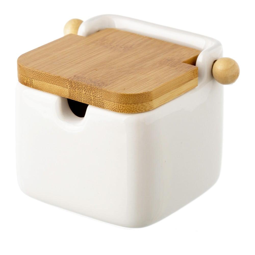 Bílá kameninová dóza na sůl s bambusovým víkem Unimasa, 250 ml