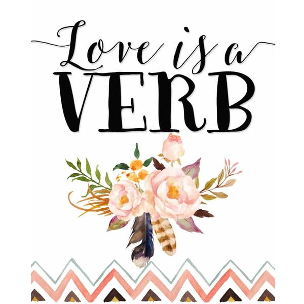 Plakát v dřevěném rámu Pink love is verb, 38x28 cm