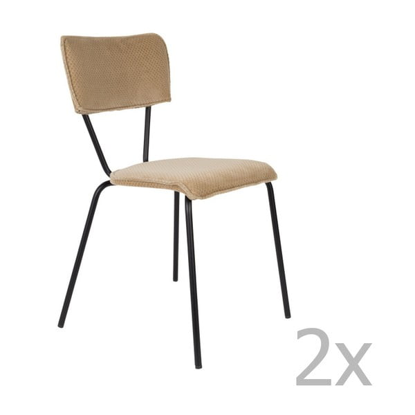 Set 2 scaune Dutchbone Melonie, bej sable
