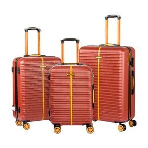 Sada 3 hnědých cestovních kufrů na kolečkách Travel World Amazonia