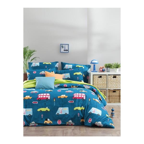 Lenjerie de pat cu cearșaf din bumbac ranforce, pentru pat dublu Mijolnir Paula Blue, 200 x 220 cm