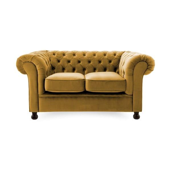 Canapea 2 locuri Vivonita Chesterfield, galben închis