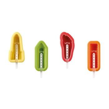 Set 4 forme colorate din silicon pentru înghețată cu diverse forme Lékué Iconic de la Lékué
