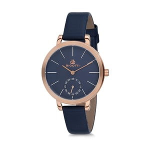 Dámské hodinky s modrým koženým řemínkem Bigotti Milano Kate