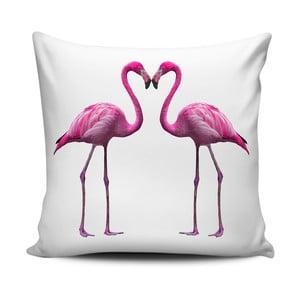 Růžovobílý polštář Home de Bleu Flamingos In Love, 43x43cm