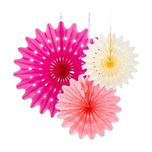 Papírové dekorace Fan Blossom, 3 kusy