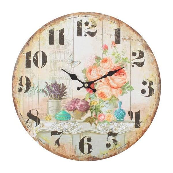 Dřevěné nástěnné hodiny Roses Deco, 34 cm