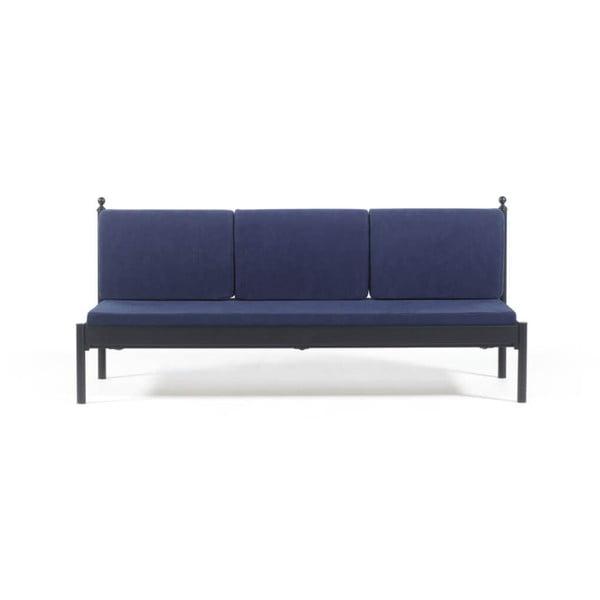 Canapea cu 3 locuri de grădină Mitas, 76 x 209 cm, albastru-negru